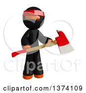 Clipart Of An Orange Man Ninja Holding An Axe On A White Background Royalty Free Illustration