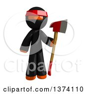 Clipart Of An Orange Man Ninja Holding An Axe On A White Background Royalty Free Illustration by Leo Blanchette