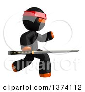 Clipart Of An Orange Man Ninja Using A Katana Sword On A White Background Royalty Free Illustration