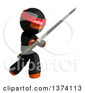 Clipart Of An Orange Man Ninja Using A Katana Sword On A White Background Royalty Free Illustration by Leo Blanchette