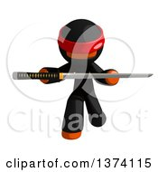 Clipart Of An Orange Man Ninja Holding A Katana Sword On A White Background Royalty Free Illustration