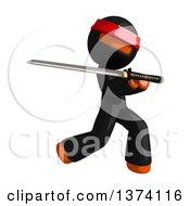Clipart Of An Orange Man Ninja Using A Katana Sword On A White Background Royalty Free Illustration