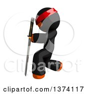 Clipart Of An Orange Man Ninja Holding A Katana Sword On A White Background Royalty Free Illustration by Leo Blanchette