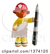 Clipart Of An Orange Man Firefighter Holding An Envelope And Pen On A White Background Royalty Free Illustration