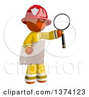 Orange Man Firefighter Holding An Envelope And Magnifying Glass On A White Background