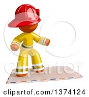 Orange Man Firefighter Surfing On An Envelope On A White Background