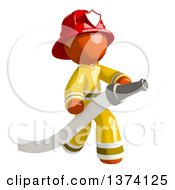 Orange Man Firefighter Holding A Hose On A White Background