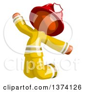 Orange Man Firefighter Jumping On A White Background