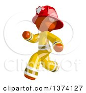 Orange Man Firefighter Running To The Left On A White Background