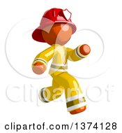 Orange Man Firefighter Running To The Right On A White Background