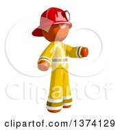 Orange Man Firefighter Presenting To The Right On A White Background