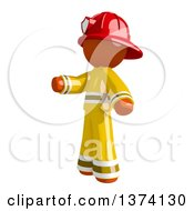 Clipart Of An Orange Man Firefighter Presenting To The Left On A White Background Royalty Free Illustration