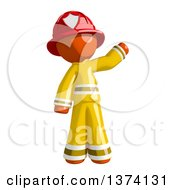 Orange Man Firefighter Waving On A White Background
