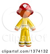 Orange Man Firefighter On A White Background