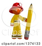 Orange Man Firefighter Holding A Pencil On A White Background