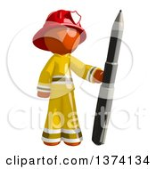 Orange Man Firefighter Holding A Pen On A White Background