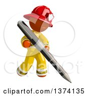 Clipart Of An Orange Man Firefighter Writing With A Pen On A White Background Royalty Free Illustration