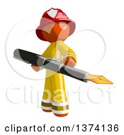 Orange Man Firefighter Holding A Fountain Pen On A White Background