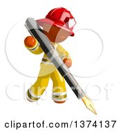 Orange Man Firefighter Writing With A Fountain Pen On A White Background