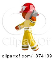Orange Man Firefighter Talking On A Smart Phone On A White Background