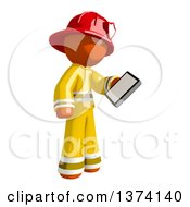 Orange Man Firefighter Looking At A Smart Phone On A White Background