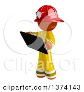 Clipart Of An Orange Man Firefighter Using A Tablet Computer On A White Background Royalty Free Illustration