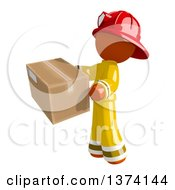 Orange Man Firefighter Holding A Box On A White Background