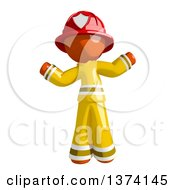 Clipart Of An Orange Man Firefighter Shrugging On A White Background Royalty Free Illustration
