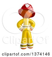 Orange Man Firefighter Standing With Hands On His Hips On A White Background