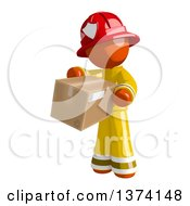 Clipart Of An Orange Man Firefighter Holding A Box On A White Background Royalty Free Illustration