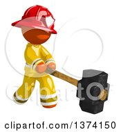 Orange Man Firefighter Swinging A Sledgehammer On A White Background
