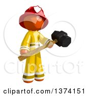Clipart Of An Orange Man Firefighter Holding A Sledgehammer On A White Background Royalty Free Illustration
