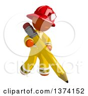 Clipart Of An Orange Man Firefighter Writing With A Pencil On A White Background Royalty Free Illustration by Leo Blanchette