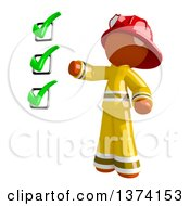 Clipart Of An Orange Man Firefighter Presenting A Checklist On A White Background Royalty Free Illustration