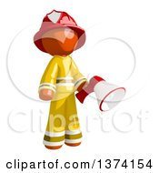Orange Man Firefighter Holding A Megaphone On A White Background