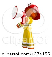 Clipart Of An Orange Man Firefighter Announcing With A Megaphone On A White Background Royalty Free Illustration