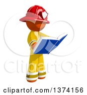 Clipart Of An Orange Man Firefighter Reading A Book On A White Background Royalty Free Illustration
