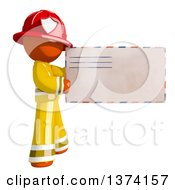 Orange Man Firefighter Holding An Envelope On A White Background