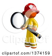 Orange Man Firefighter Searching With A Magnifying Glass On A White Background