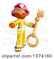 Orange Man Firefighter Holding A Key On A White Background