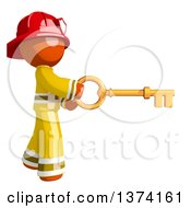 Orange Man Firefighter Using A Key On A White Background