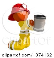 Orange Man Firefighter Beggar Kneeling And Holding A Can On A White Background