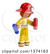 Orange Man Firefighter Holding Pill Capsules On A White Background