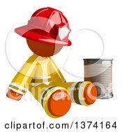 Orange Man Firefighter Beggar Sitting By A Can On A White Background