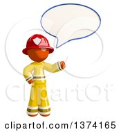 Orange Man Firefighter Talking On A White Background