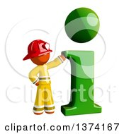 Orange Man Firefighter With An I Info Icon On A White Background