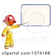 Orange Man Firefighter Pointing To A White Board On A White Background