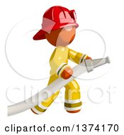 Orange Man Firefighter Using A Hose On A White Background