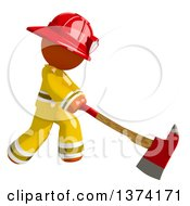 Orange Man Firefighter Swinging An Axe On A White Background