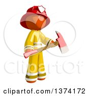 Orange Man Firefighter Holding An Axe On A White Background